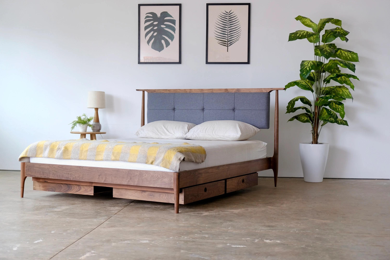 mid century modern platform bed solid walnut platform bed frame upholstered headboard platform bed storage bed