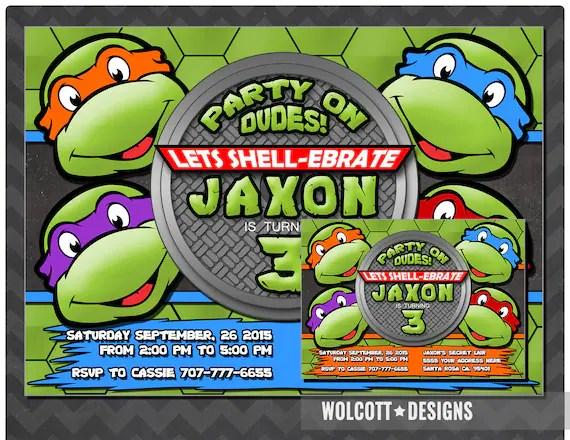 ninja turtles invitation tmnt