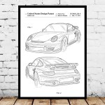 Porsche Patent Porsche Poster Porsche Print Porsche Art Porsche Decor Porsche Blueprint Porsche Old Wall Art P916