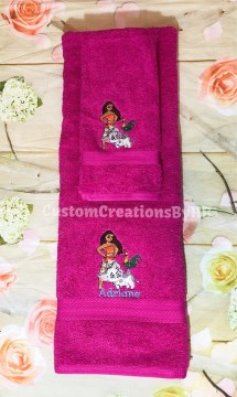 Moana Inspired Towel Set Moana Bathroom Towels Moana   Etsy image 0