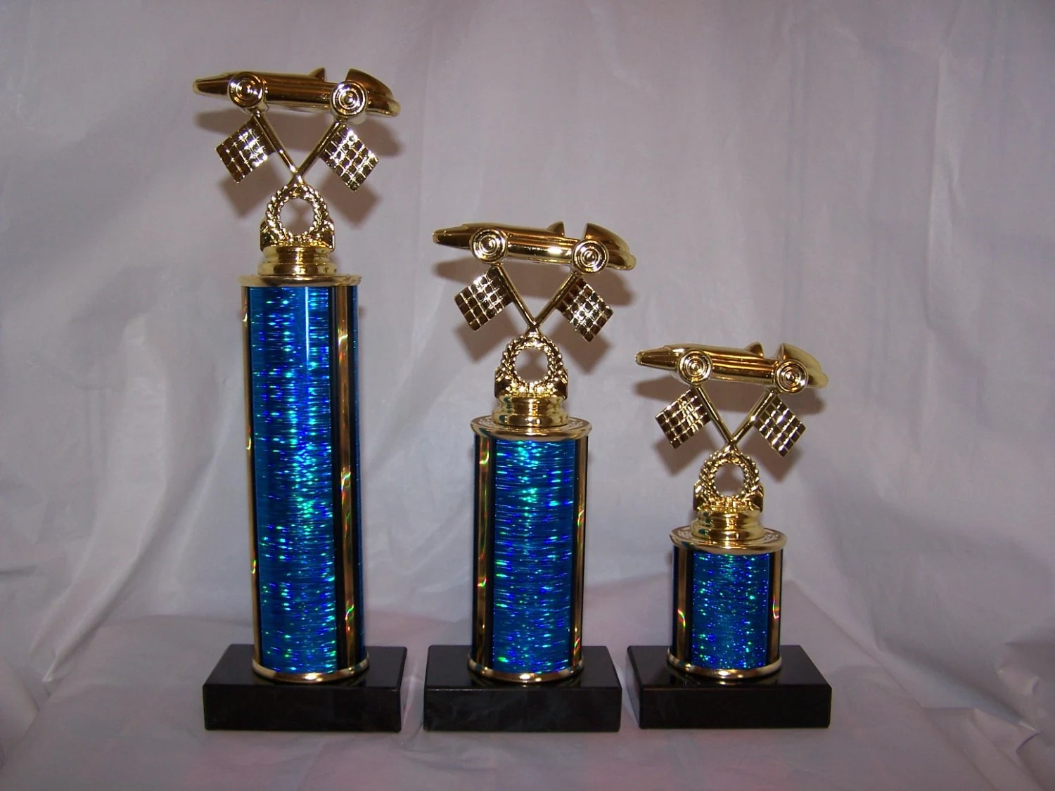 3 Pinewood Derby Cub Scouts Trophies First Second Third