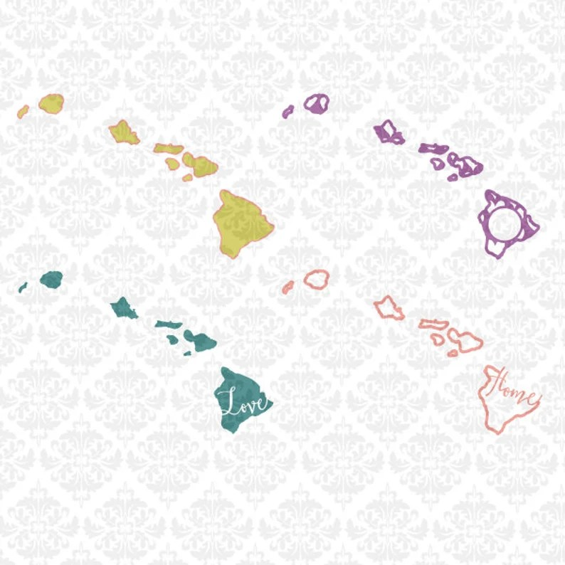 Download Hawaii State Set Love Chevron Outline Home Heart SVG DXF ...