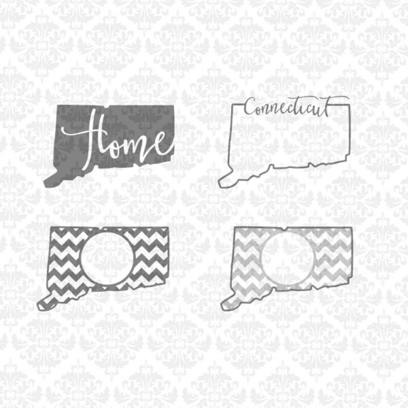 Download Connecticut State Set Outline Chevron Love Home Hearts SVG ...