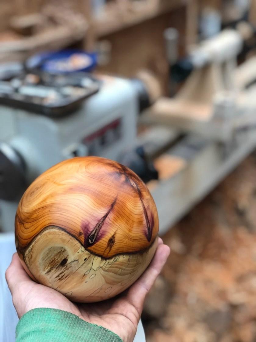 """wooden sphere 6"""" han..."""