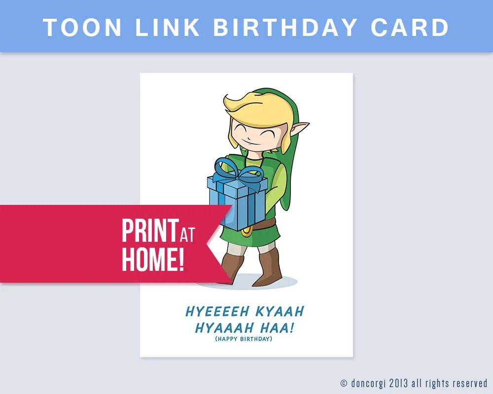 Printable Legend Of Zelda Birthday Card Digital Card Happy Etsy