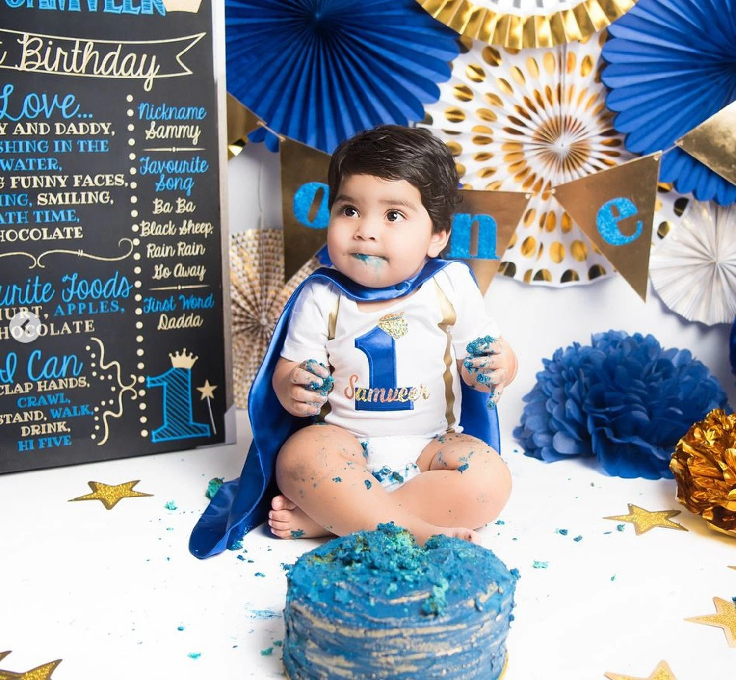 Baby Boy Blue 1st Birthday Outfit Elite Little Prince 1st Etsy