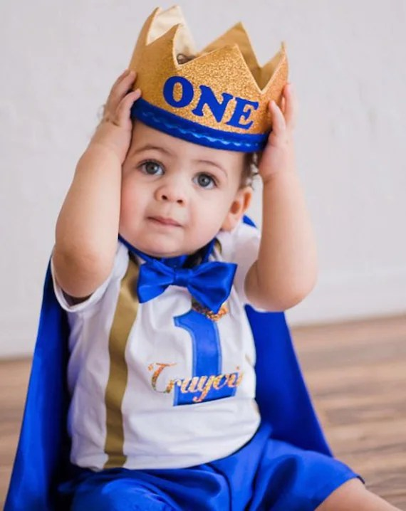 Personalized First Birthday Outfit Boy Prince 1st Birthday Etsy