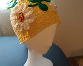 Handmade Lace Floral Hat child / teen Yellow with flowers