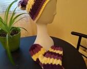 Wool Hat and Mittens Set purple stripes