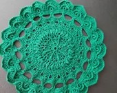 Handmade Round Textured Doily 9 1/4 inches Forest Green