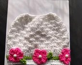 Handmade Pretty Posie Messy Bun Hat White with Pink Flowers