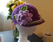 Handmade Woman's Flower Baseball Cap Purple
