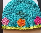 Handmade Girls Hat size 6 to teen Turquoise with flowers