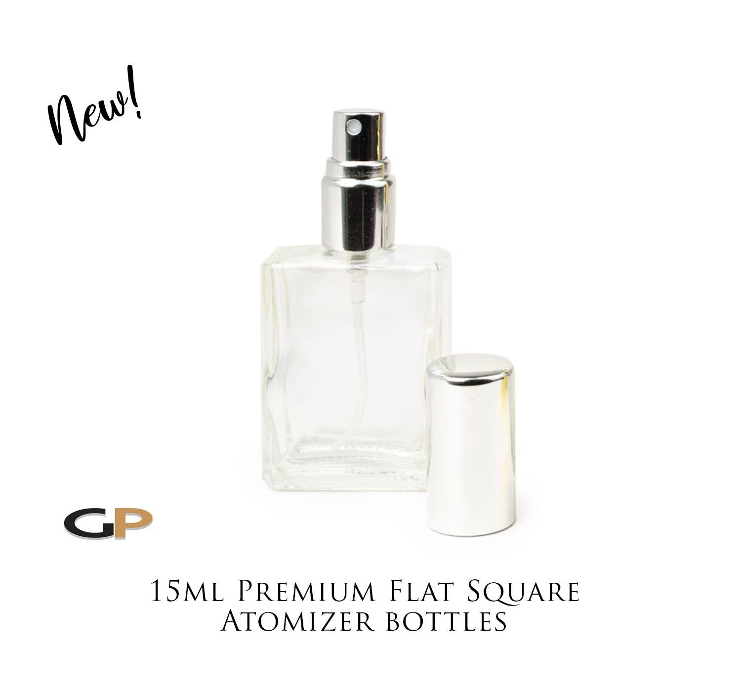 Single Premium Flat Square 15ml Clear Glass Atomizer Bottle Luxury Silver Black Or Gold Cap For