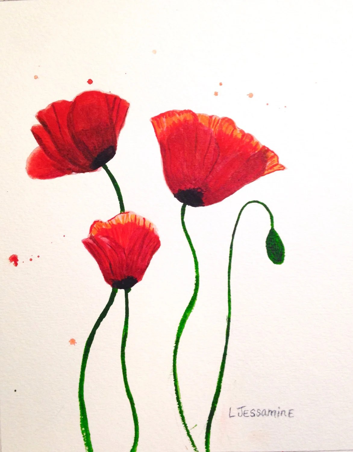 Red Poppy Original Watercolor Painting  Flower painting  Red Flowers     Red Poppy Original Watercolor Painting  Flower painting  Red Flowers  Wall  Art  Red and White  Poppy Flower  Poppy Flowers  8x10