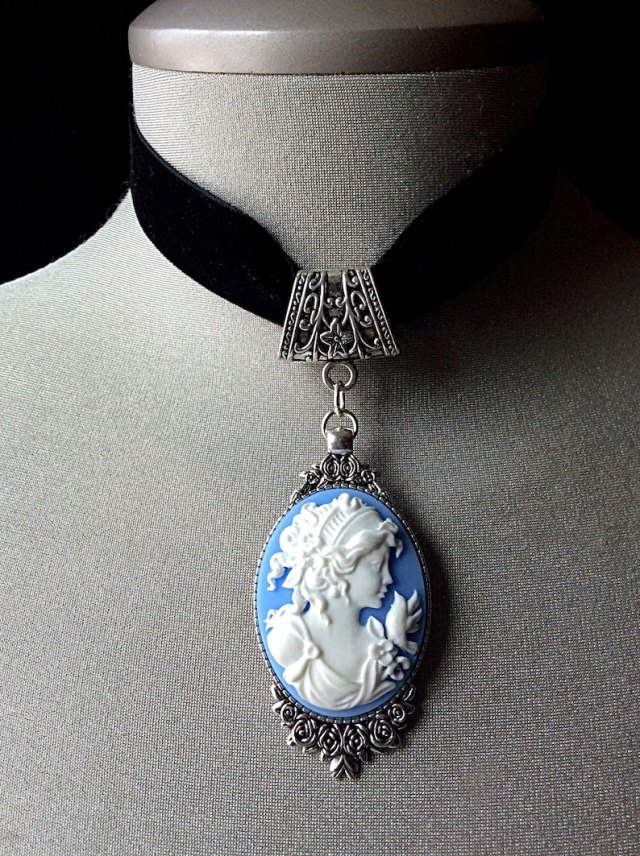 Antique cameo, blue cameo necklace, blue choker, Wedgwood, black velvet choker, cameo jewelry, Victorian vintage, romantic, Mother's Day