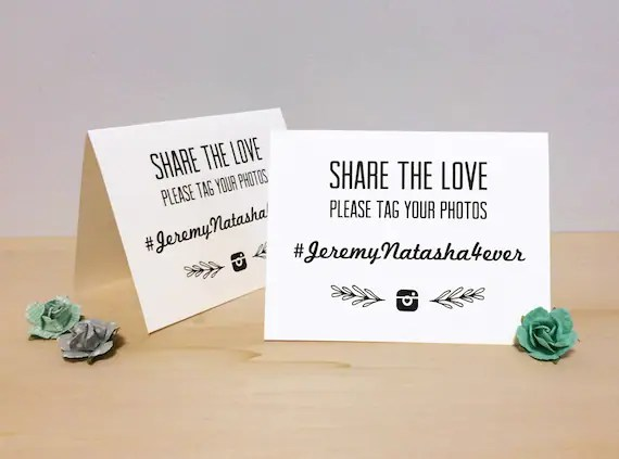 Instagram Wedding Hashtag Tent Card Custom Printable Etsy