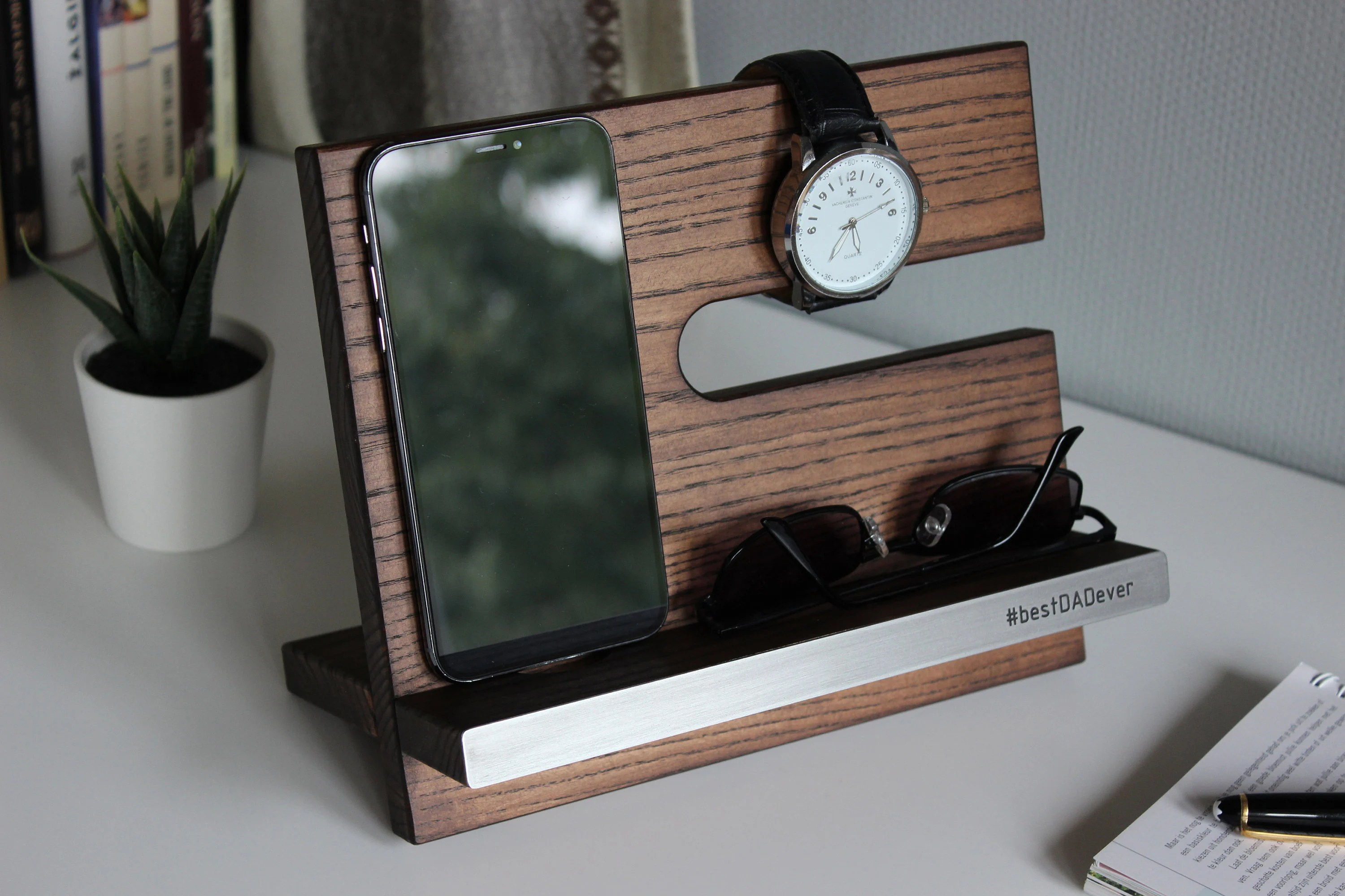5 Year Anniversary Gift Personalized Nightstand Organizer With Engraved Name Plate