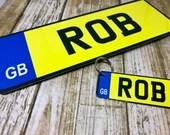 Car License Door Plaque & Keyring Set