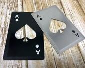 Bottle Opener Flat Wallet Card - Metal - Playing Card