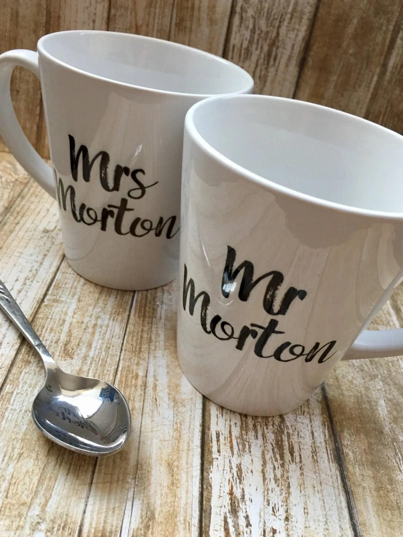 Set of 2 Mr & Mrs Personalised Latte Mugs