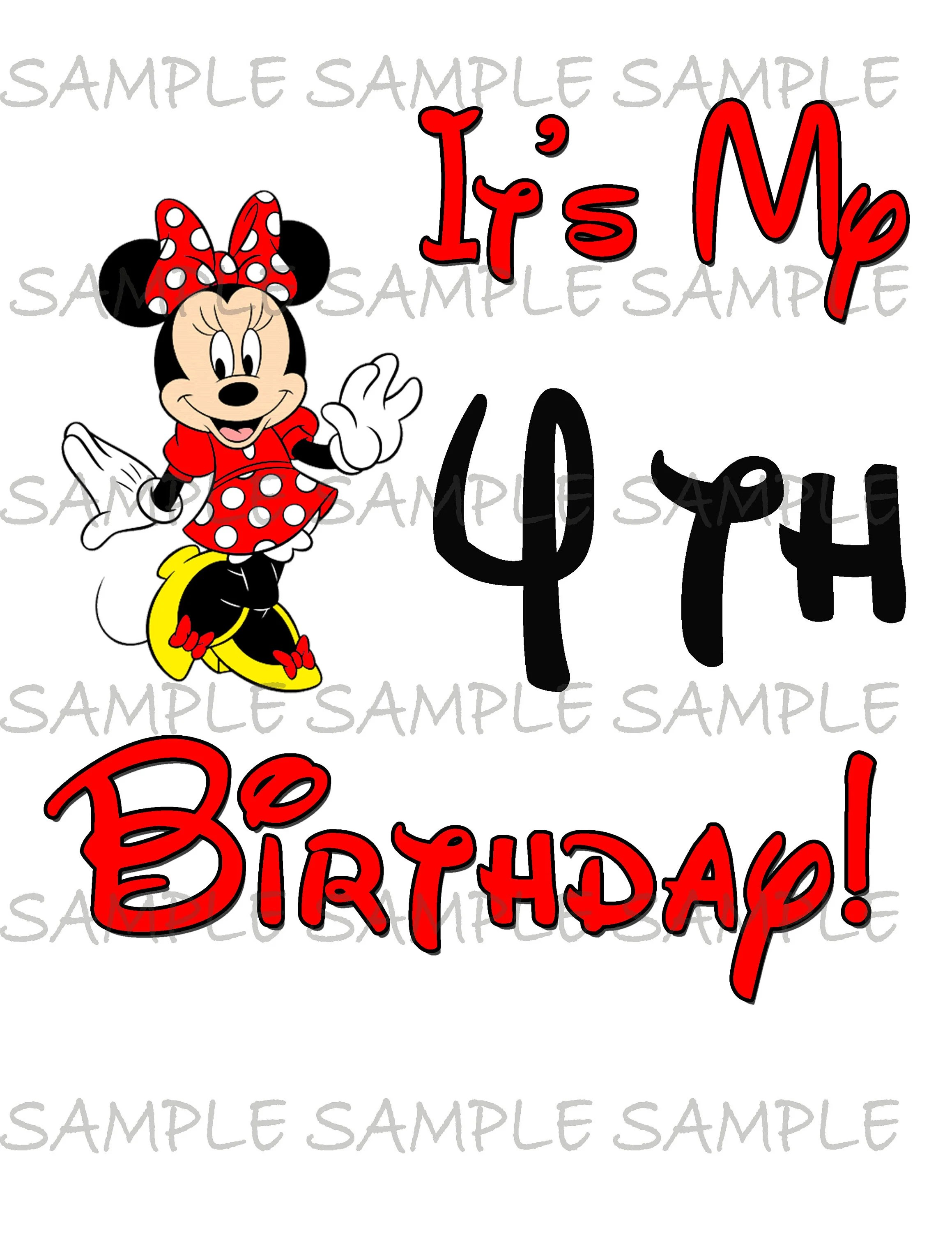 My Fourth Birthday Minnie Mouse Image Use As Clip Art Or Print Etsy