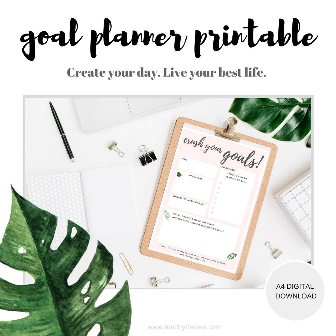 Goal Tracker Printable Goal Planning Worksheet Weekly Goal