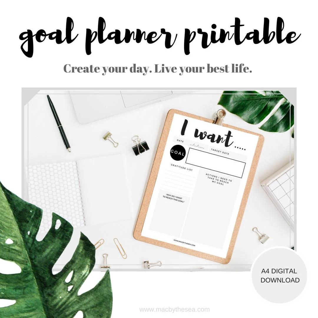 Monthly Goal Tracker Worksheet Instant Download Goal