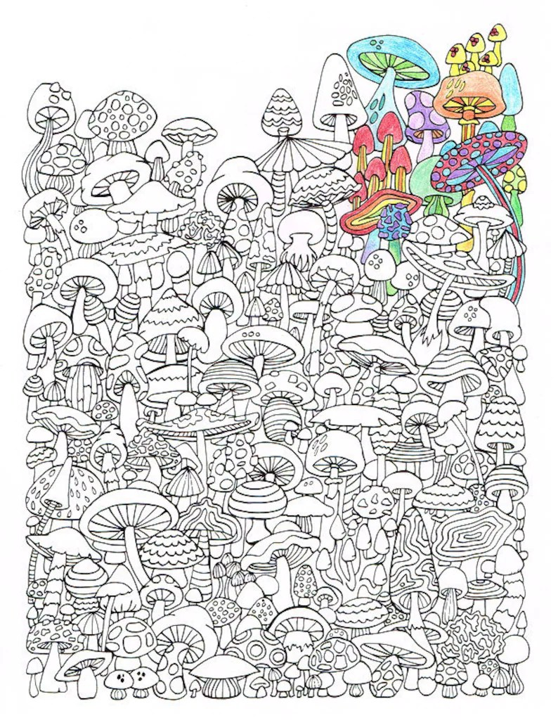 adult coloring page - mushrooms - printable coloring page for adults - part  of the hippie kitsch adult coloring book