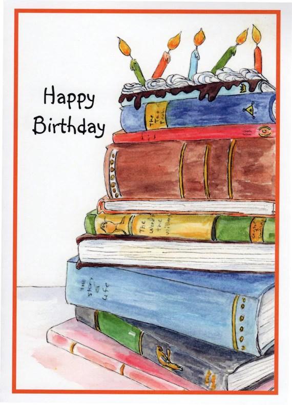 Birthday Book Cake Stack Of Books Candles Birthday Cake Etsy