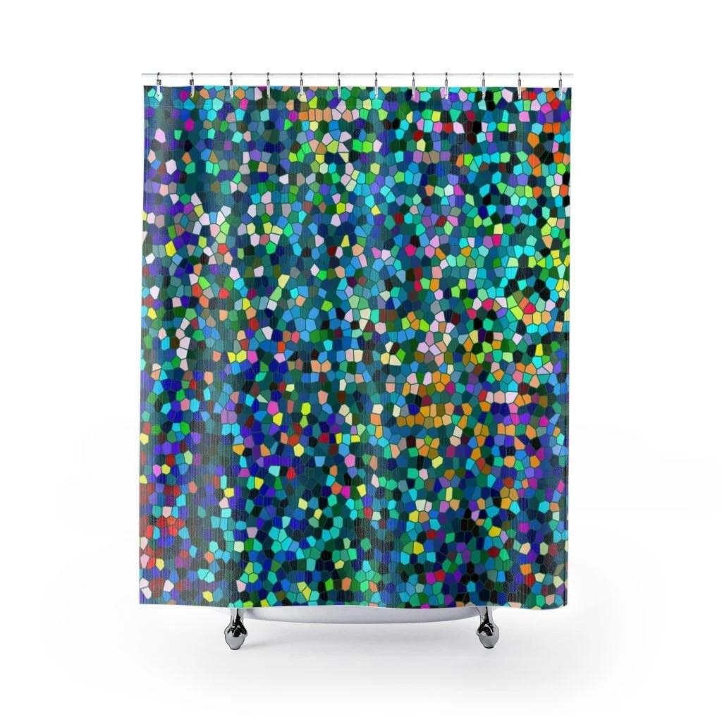 jewel tone mosaic shower curtain set