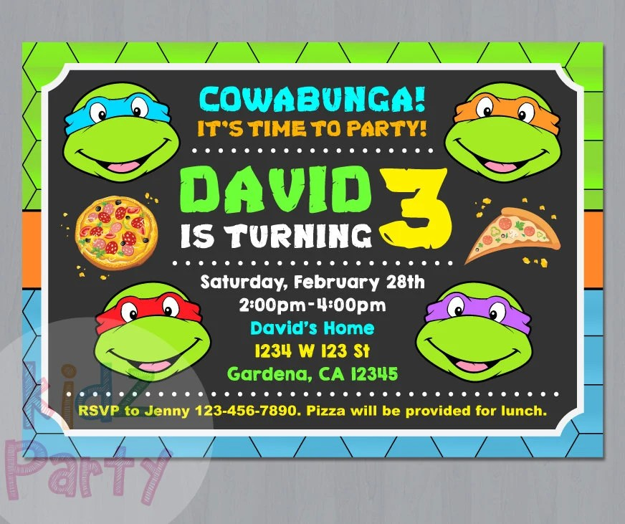 ninja turtle invitation ninja turtles party tmnt invitation teenage mutant ninja turtle invitations tmnt birthday invitation ninja card