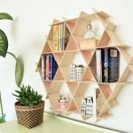 Wood Bookshelf Floating Shelves Bookcase Hanging Bookshelf Wood Book Shelf Wall Shelf Hexagon Shelves Living Room Storage