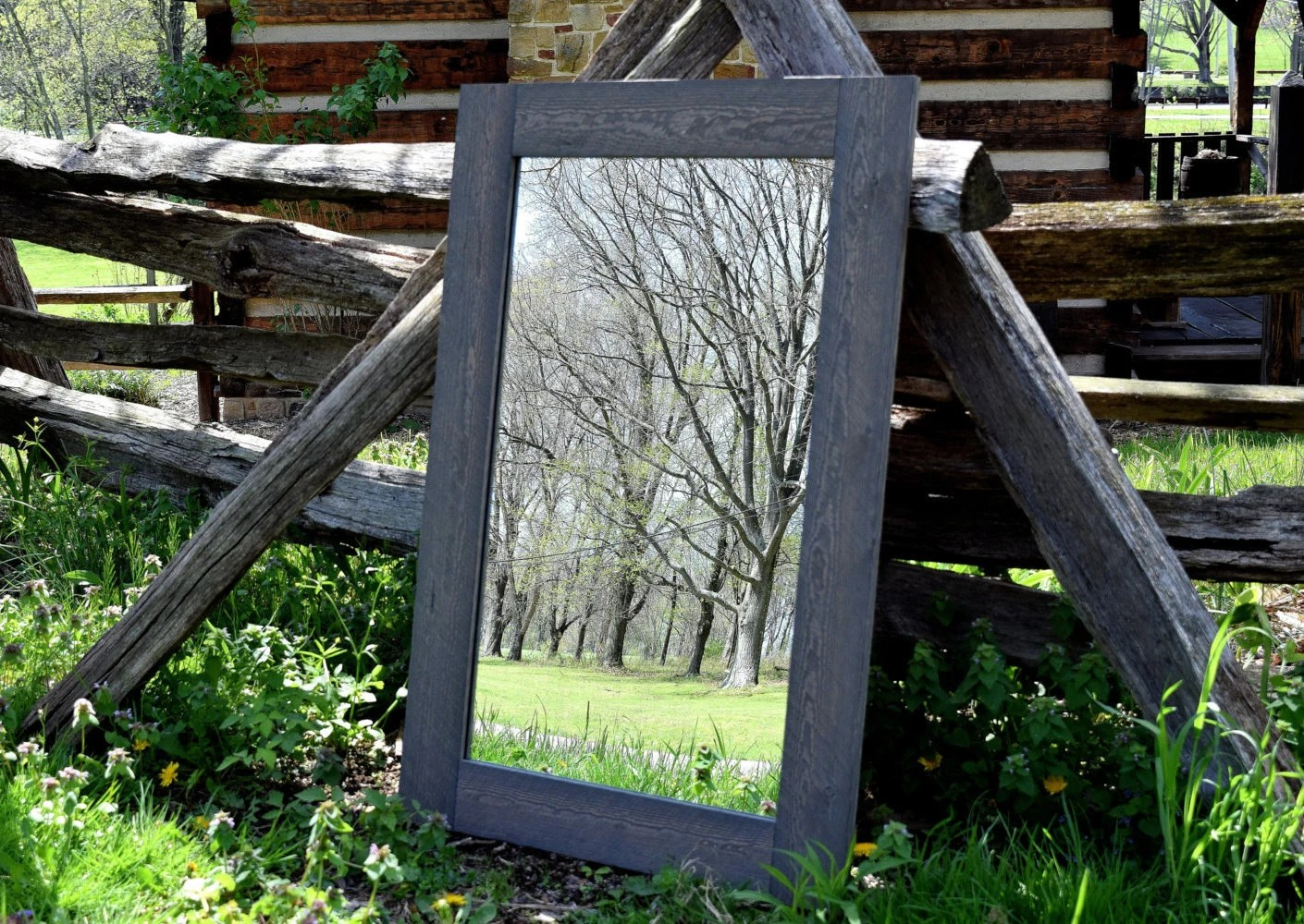 Large Grey Rustic Mirror Mirrors Framed Mirrors Wood
