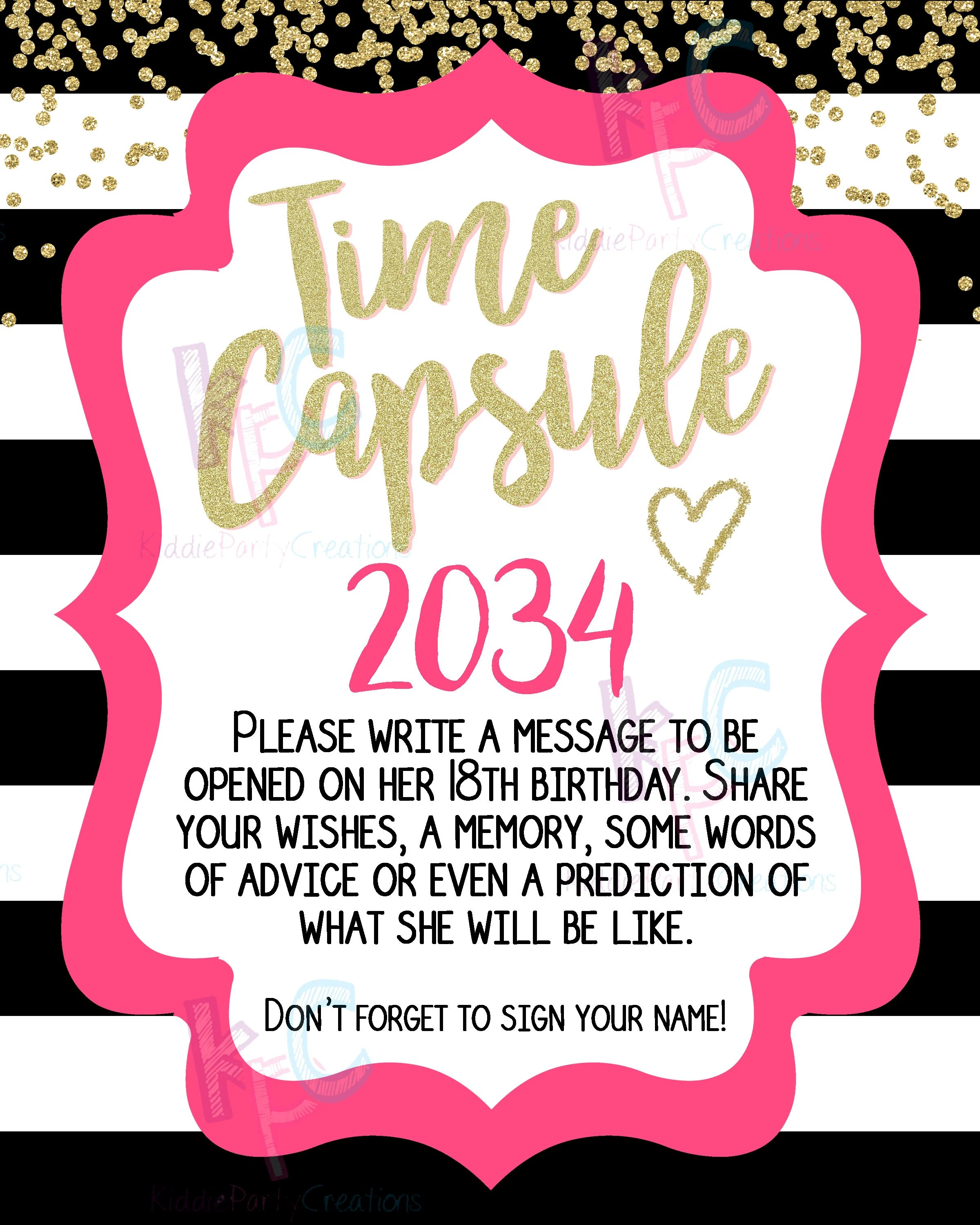 1st Birthday Time Capsule Printable 8x10 Sign With Matching