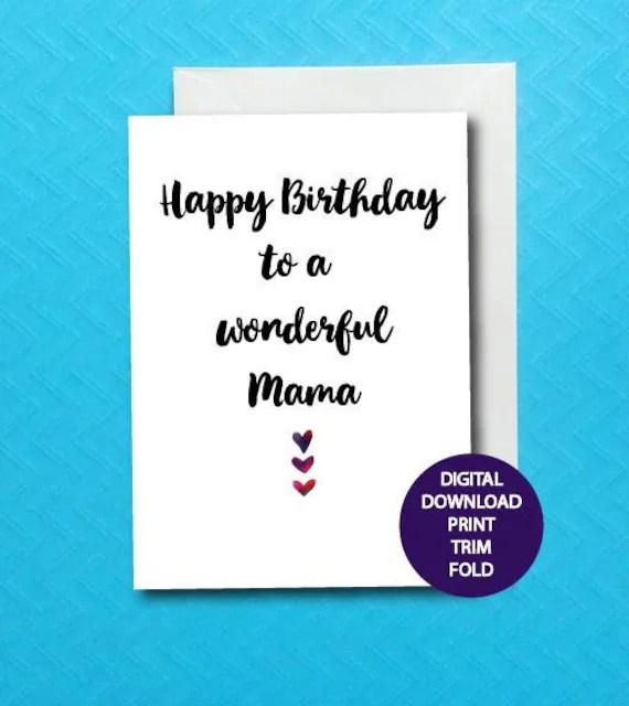 Happy Birthday Mama Card Printable Mama Birthday Card Etsy