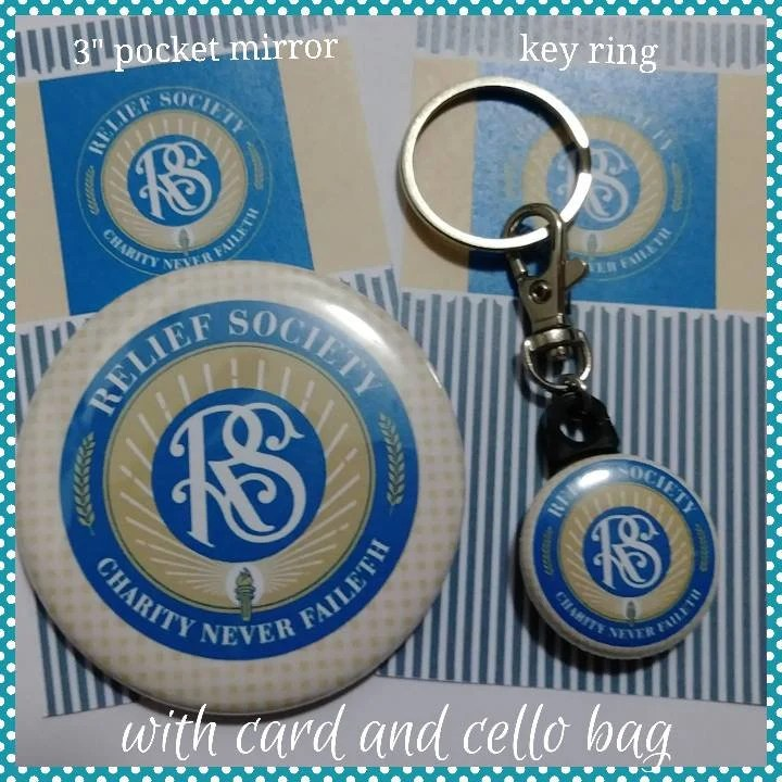 Relief Society Gift 2 5 Pocket Mirror Or Key Ring With Card And Cello Bag Lds Birthday Or Christmas Gift Charity Never Faileth Rs Motto