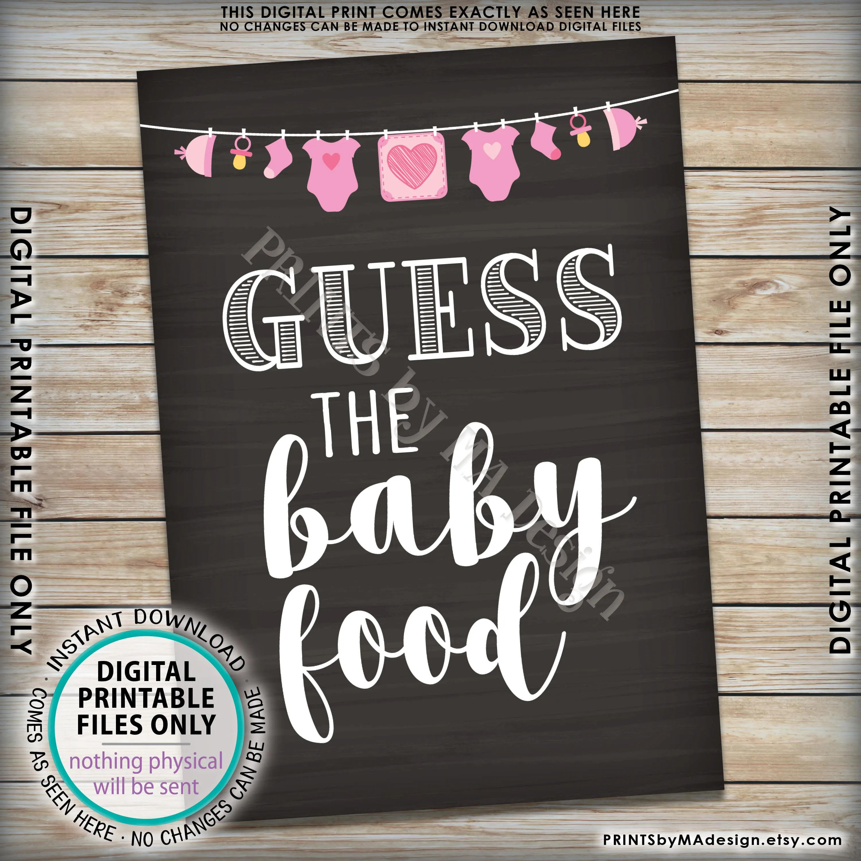 Guess The Baby Food Sign Baby Food Guessing Game Baby