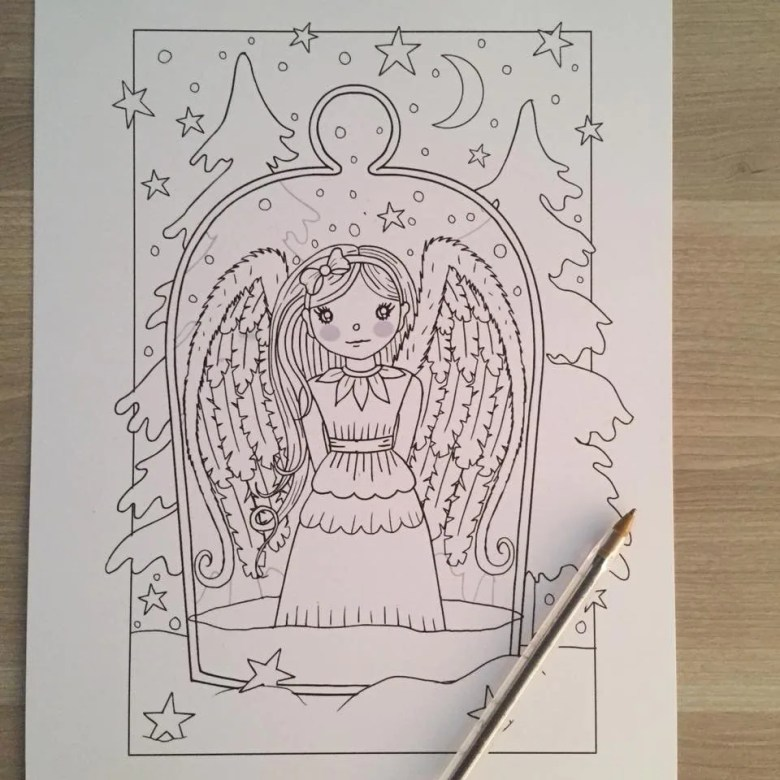 angel coloring page christmas coloring page printable | etsy