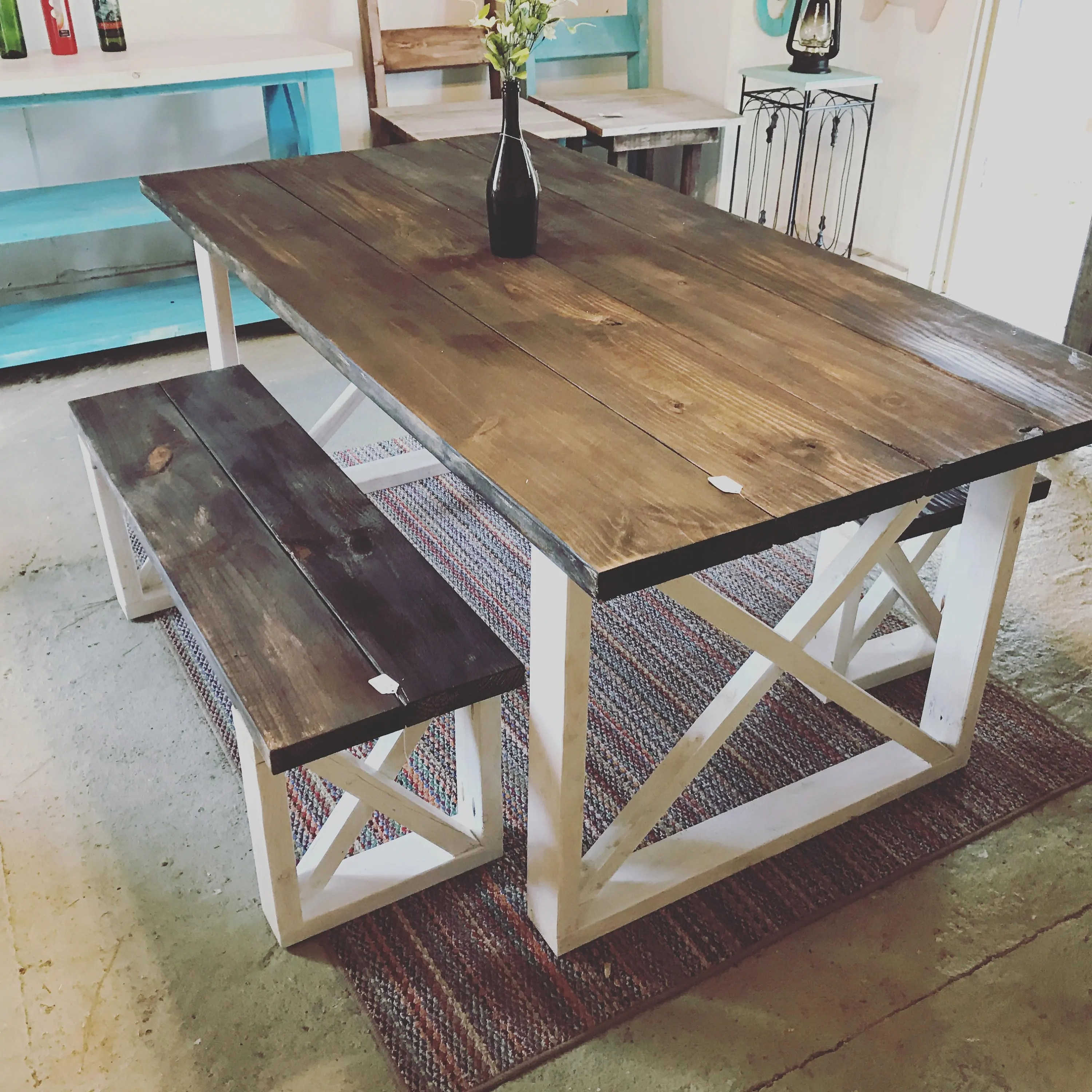 Rustic Farmhouse Table With Benches With Dark Walnut Top