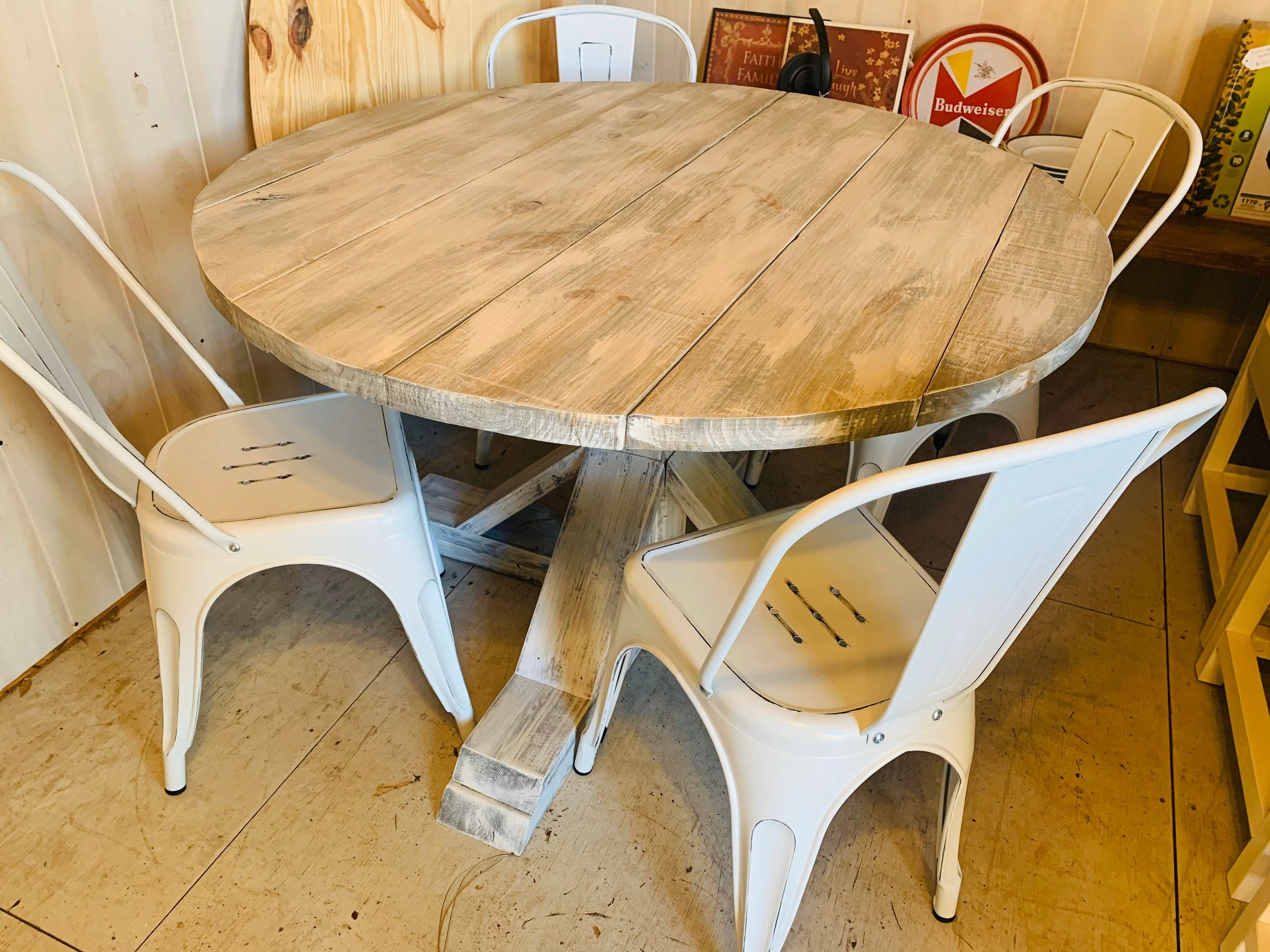 Round Rustic Farmhouse Table With Chairs Single Pedestal Style Base Gray White Wash Top With Distressed White Base Small Wooden Dining