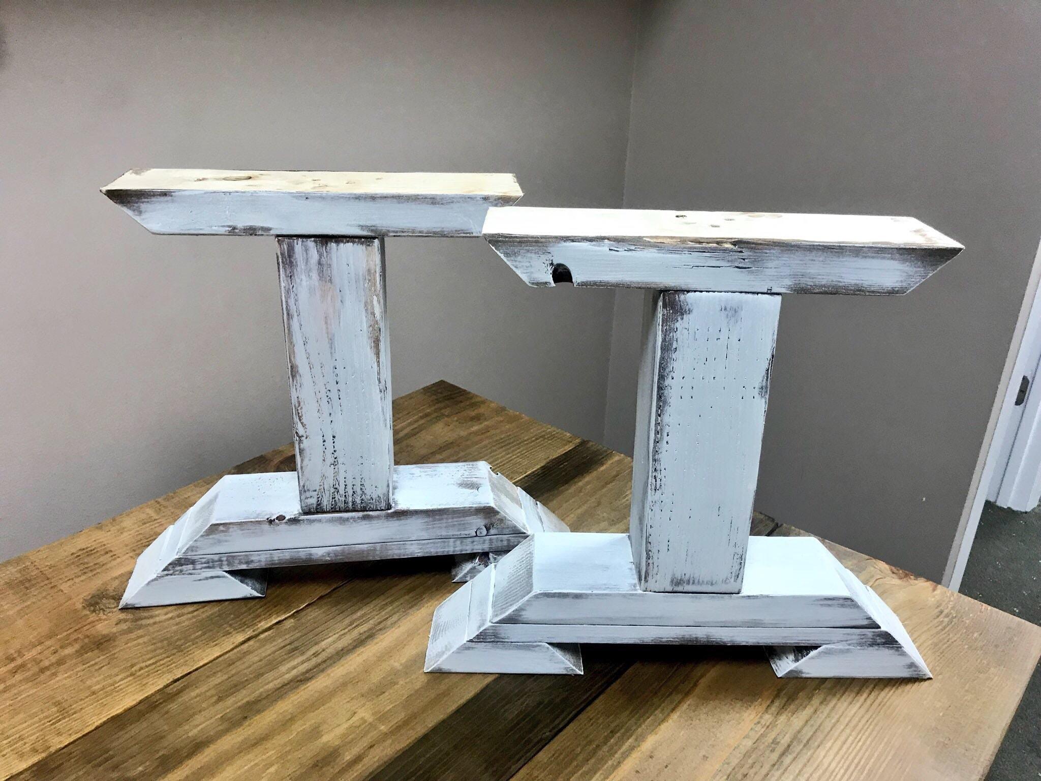 diy bench leg set antique white