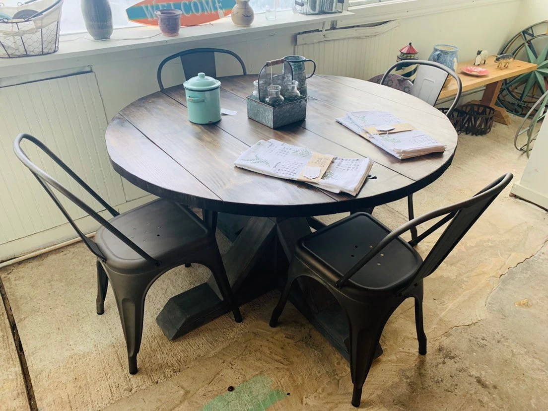 Round Rustic Farmhouse Table Set With Chairs Single Pedestal Style Base Dark Walnut Brown Top With Gray Base Small Wooden Dining Table