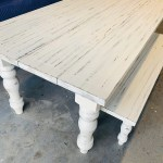 7ft Rustic Farmhouse Table And Bench With Turned Legs White Distressed Top And Base Wooden Dining Table Kitchen Table