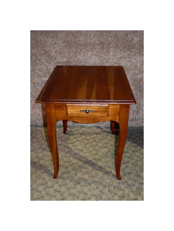 solid cherry ethan allen transitional style side table w drawer