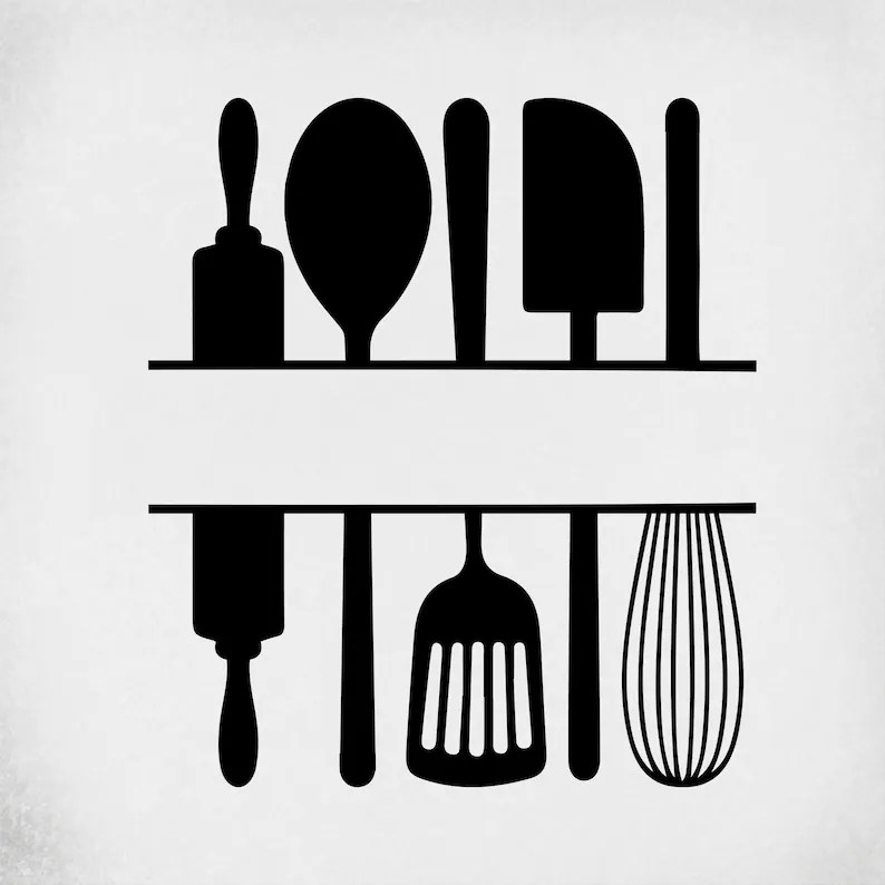 Download Split Kitchen Utensils svg Cut Files for Cricut ...