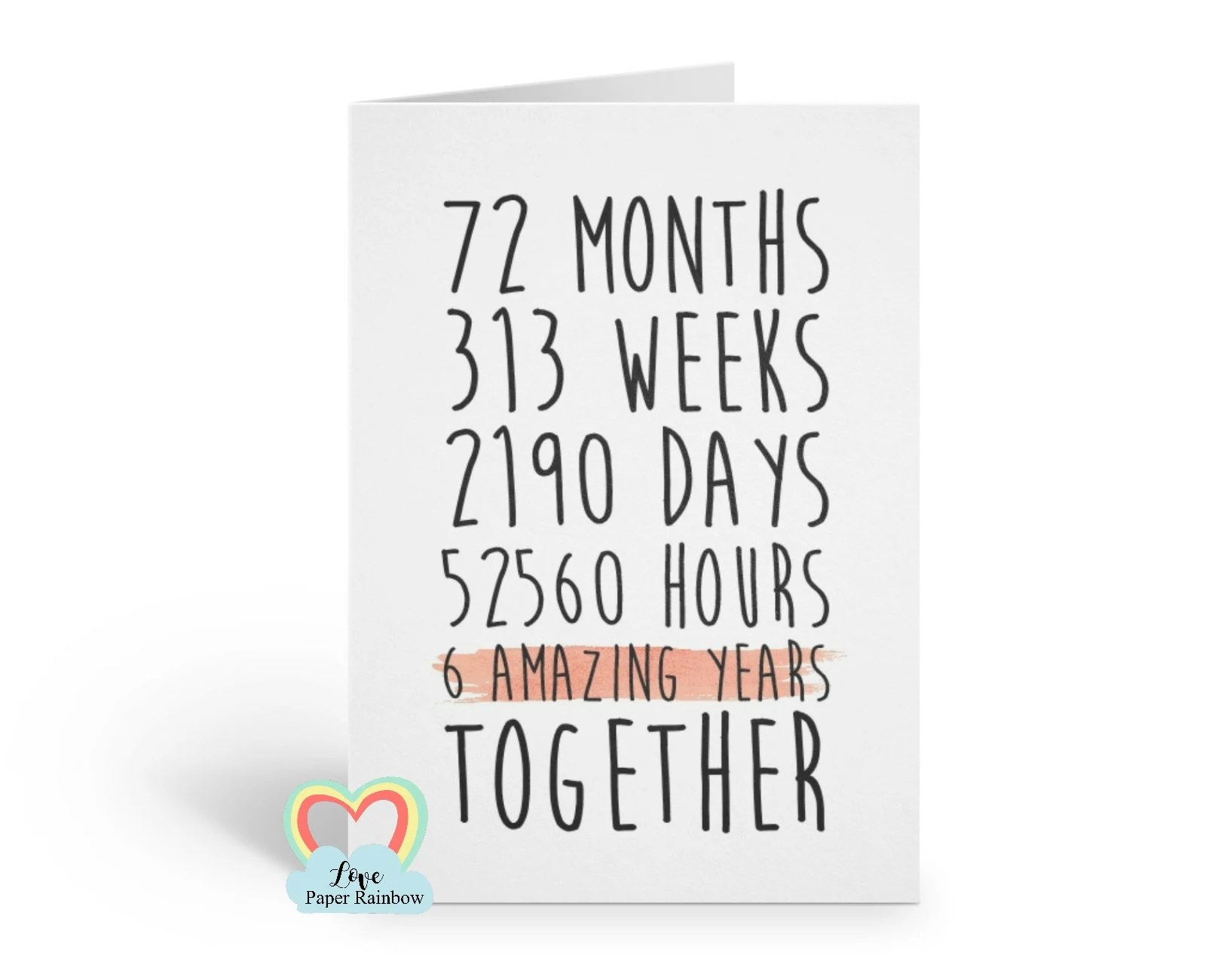6th Anniversary Card 6th Wedding Anniversary Card 6 Years