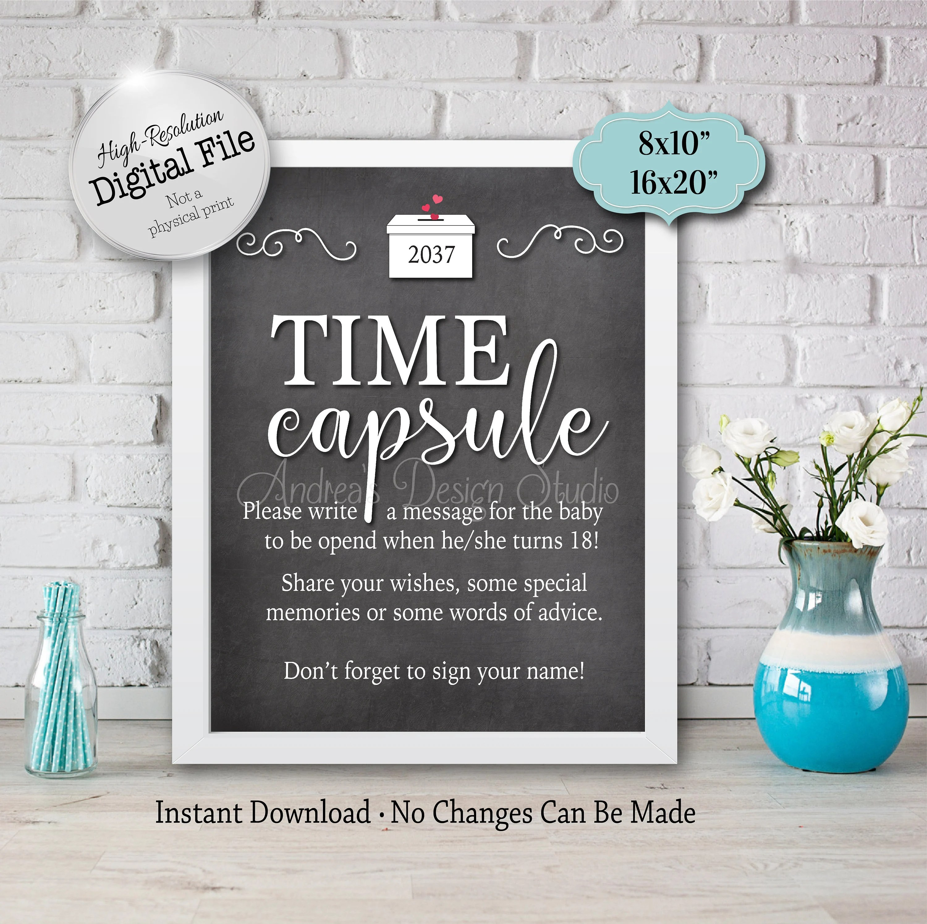 Baby Time Capsule Sign Baby Shower Printables Baby Shower