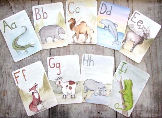 Large ABC Animal Alphabet Printable Flash Cards Digital image 0