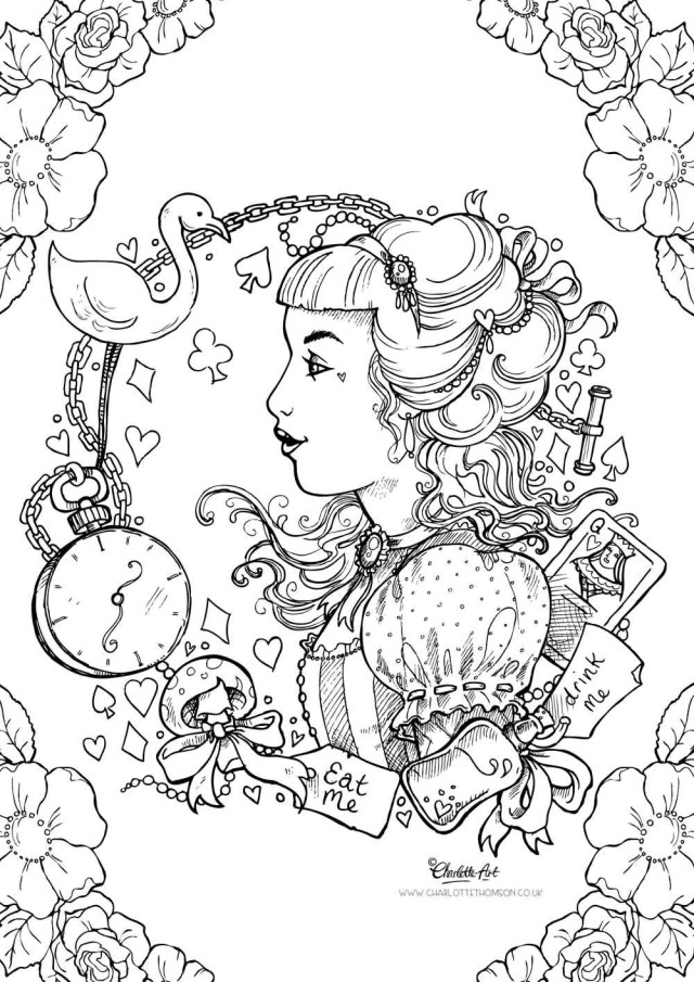 Adult Colouring Page. Alice in Wonderland Gothic Lolita Kawaii Victorian  Pin Up Girl (Instant Download PDF and JPEG file for Coloring)